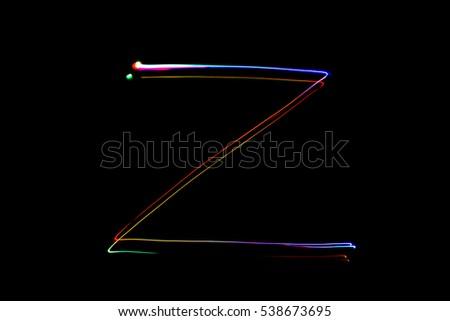 Light painting alphabet, capital letter. Letter Z #538673695