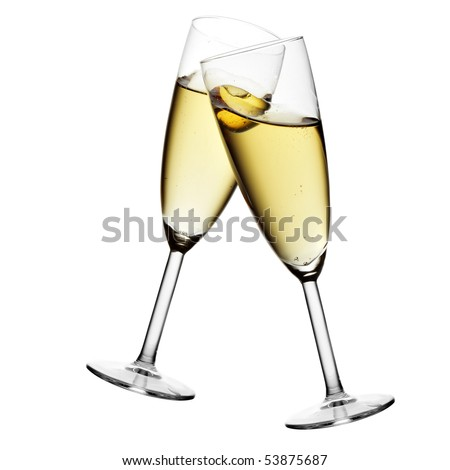 Glasses of champagne isolated over white background #53875687