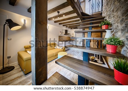 KOMIZA (VIS), CROATIA - AUG 15, 2015: - Traditional old Dalmatian house will charm you with its modern interior design made of stone and wood. #538874947