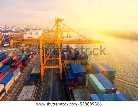 container,container ship in import export and business logistic.By crane ,Trade Port , Shipping.cargo to harbor.Aerial view.Water transport.International.Shell Marine. #538889506