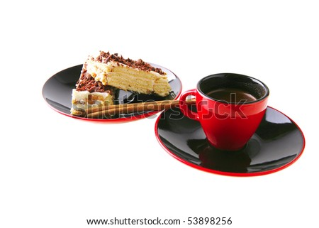 french roast coffee in red glass with chocolate cake #53898256