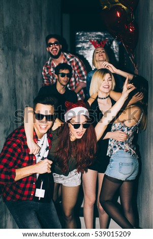 Group of friends at club having fun. New year's party #539015209