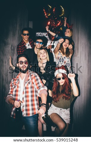 Group of friends at club having fun. New year's party #539015248