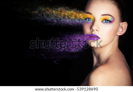 beautiful girl with creative make-up. effect photoshop. green. Creative make-up, studio photo, photo processing, #539128690