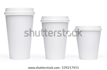 White blank Takeaway paper, carton or cardboard coffee cup different size isolated on checkered background including clipping path. #539217415
