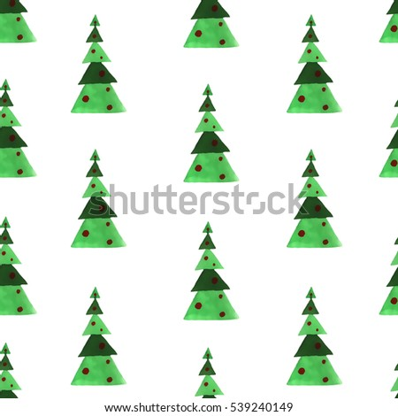 watercolor christmas tree, new year illustration isolated on white background, seamless pattern #539240149