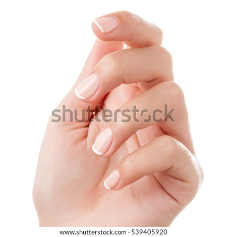 Woman hand with french manicure isolated on white background. Close-up. Retouched. #539405920