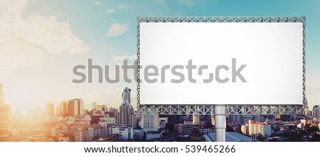 Blank billboard for advertisement at Bangkok city in sunrise #539465266
