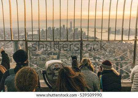 Girl with view to Downtown Manhattan #539509990