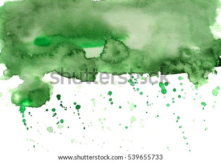 hand painted abstract watercolor background with spatters in green color