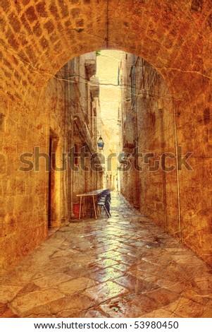 street in Dubrovnik - picture in artistic retro style #53980450