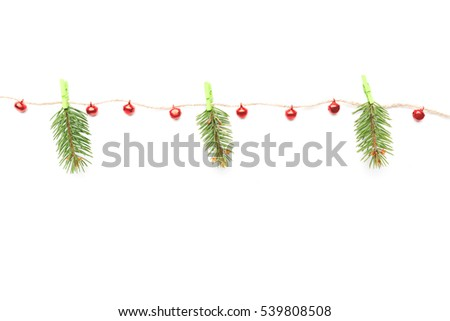 Christmas composition, decorations on twine, isolated on white, flat lay, copy space. #539808508