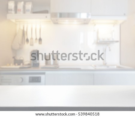 Table Top And Blur Kitchen Room Of The Background #539840518
