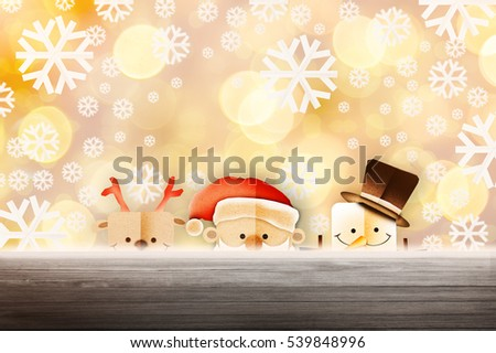 christmas background illustration of funny santa claus and red nosed reindeer