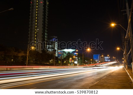 BANGKOK THAILAND - NOVEMBER 25 2016:  Ratchayothin bridge at night November 25 Bangkok, Thailand #539870812