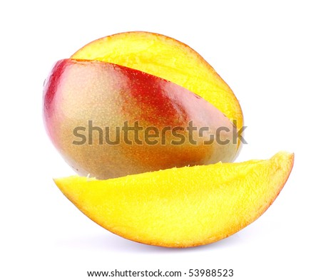 Ripe sweet mango piece isolated on white background #53988523