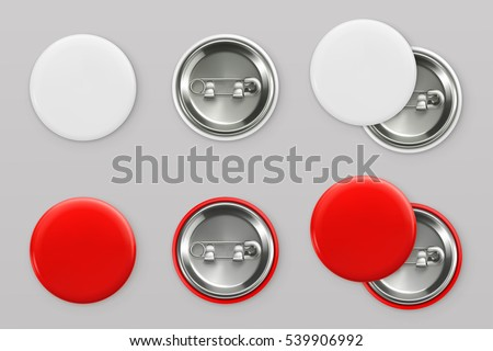 Blank white and red badges. Pin button. 3d vector realistic mockup Royalty-Free Stock Photo #539906992