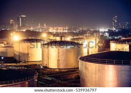 Selective focus Oil Tanks for background #539936797