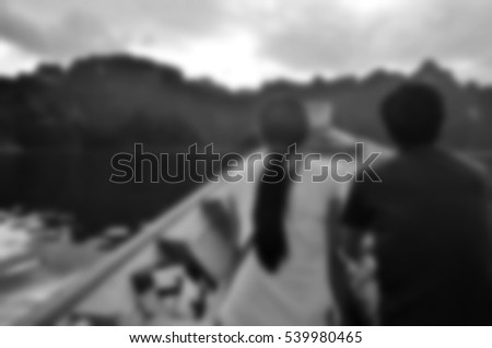 Blurred abstract background of couple travel on boat #539980465