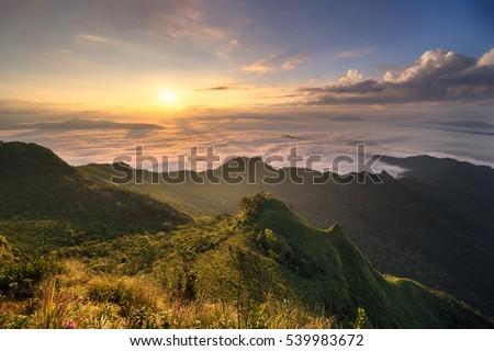Mountain sunrise landscape,Sunshine over horizon,Thailand mountain travel landscape,Outdoor travel in Thailand winter season. #539983672