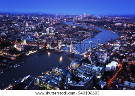 London aerial view with Tower Bridge, UK #540106603