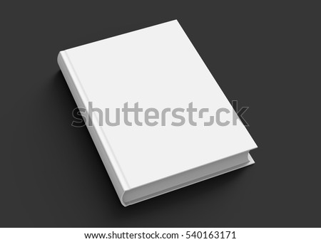 Blank hard cover book template, blank book cover for design isolated on black background, 3D rendering