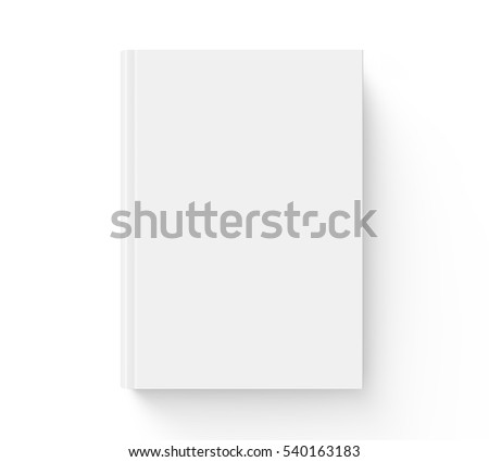 Blank hard cover book template, blank book cover for design isolated on white background, 3D rendering