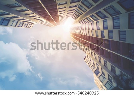 Futuristic architecture cityscape view with modern building skyscrapers Royalty-Free Stock Photo #540240925