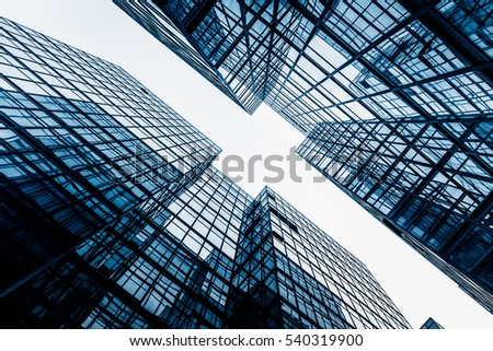 low angle view of business buildings in Hong Kong,China. #540319900