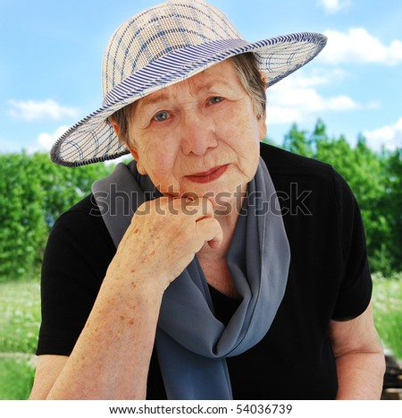 Happy senior woman outdoors #54036739