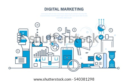 Concept illustration - digital marketing, media planning, online business and purchasing, financial analysis and statistics. Illustration thin line design of vector doodles, infographics elements. Royalty-Free Stock Photo #540381298