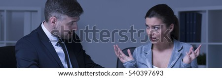 Panoramic picture of two office lawyers arguing #540397693