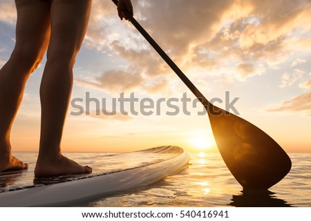 Stand up paddle boarding on a quiet sea with warm summer sunset colors, close-up of legs Royalty-Free Stock Photo #540416941