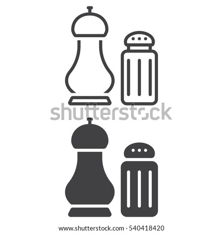 Salt and pepper shakers line icon, outline and filled vector sign, linear and full pictogram isolated on white. Symbol, logo illustration Royalty-Free Stock Photo #540418420
