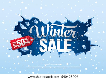winter sale banner, vector illustration Royalty-Free Stock Photo #540425209