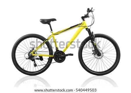 Yellow bicycle isolated on a white background with clipping path Royalty-Free Stock Photo #540449503