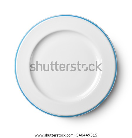Empty ceramic round plate isolated on white with clipping path Royalty-Free Stock Photo #540449515
