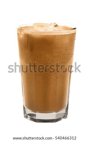 Glass of cold coffee on white background #540466312