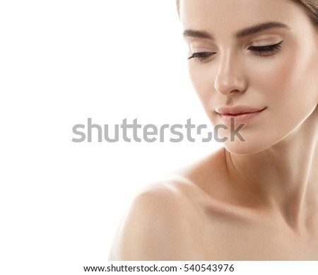 Beauty Woman face Portrait. Beautiful model Girl with Perfect Fresh Clean Skin color lips purple red. Blonde brunette short hair Youth and Skin Care Concept. Isolated on a white background