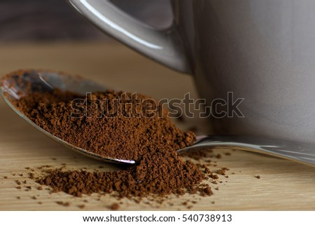Instant coffee in a spoon #540738913