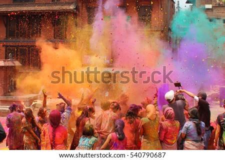 Holi celebration in Nepal or India Royalty-Free Stock Photo #540790687