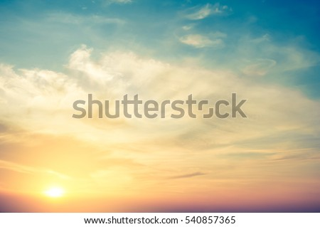 Sunset with blue sky - retro vintage filter effect Royalty-Free Stock Photo #540857365