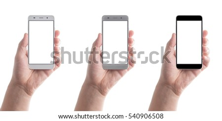 Man hand holding the black, grey and white smartphone. #540906508