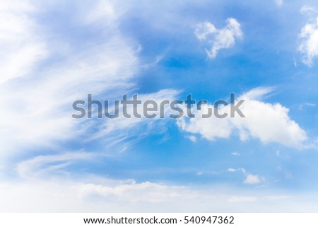 Fluffy Cloud and Blue sky in winter season #540947362
