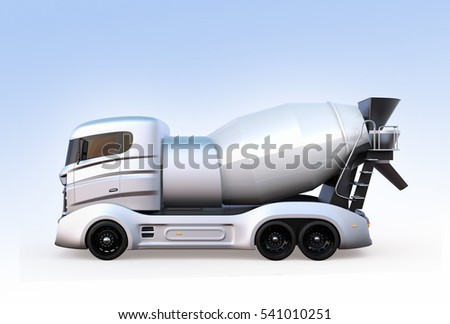 Side view of concrete mixer truck isolated on light blue background. 3D rendering image with clipping path. #541010251
