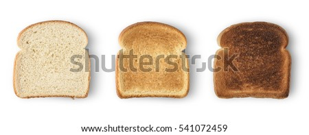 Set of three slices toast bread isolated on white Royalty-Free Stock Photo #541072459
