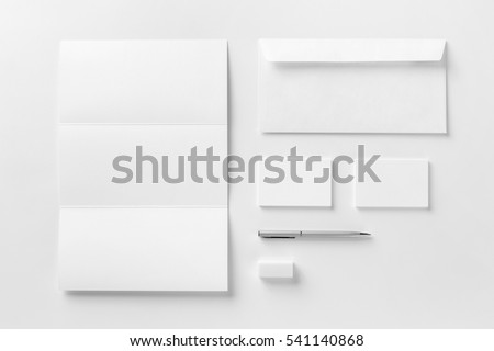 Corporate stationery set mockup. Blank white textured brand ID elements. Royalty-Free Stock Photo #541140868