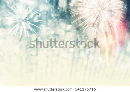 abstract holiday background - Fireworks at New Year and copy space #541175716