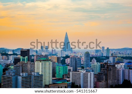 The skyline view of Ryugyong Hotel, an unfinished 105-story pyramid-shaped skyscraper & the first tall building in Pyongyang city, the capital of North Korea (DPRK) #541311667
