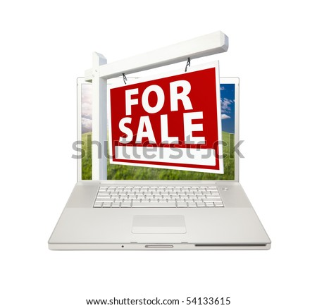 For Sale Real Estate Sign on Computer Laptop Isolated on a white Background.